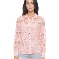 Checkered Scroll Lace Shirt by Juicy Couture