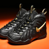 Kids Nike Air Foamposite Pro Black/Gold Sneaker Shoe US 11C - 3Y
