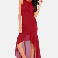 Night and Sway Wine Red High-Low Dress