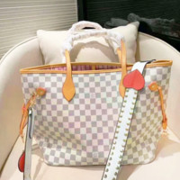 LV fashionable lady white checked bag with diagonal span and single shoulder