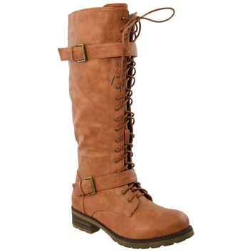 Womens Knee High Lace Up Western Boots Tan
