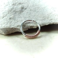 Silver Nose Ring Pink Gold Wrap