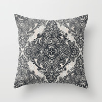 Charcoal Lace Pencil Doodle Throw Pillow by Micklyn