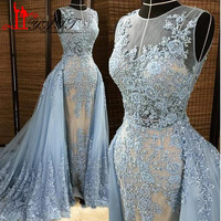 Liyatt Evening Dresses Detachable Overskirt O-Neck Illusion Blue Pearls Beaded Lace Appliques Tulle Prom Dress Custom LY360