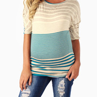 Teal Grey Beige Striped Dolman Sleeve Maternity Top
