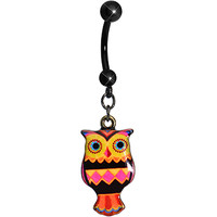 Pink and Yellow Patchwork Artistic Owl Dangle Belly Ring | Body Candy Body Jewelry