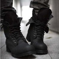 Retro Combat boots Winter England-style fashionable Men's short Black shoes