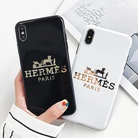 Hermes New fashion letter horse print couple protective cover phone case