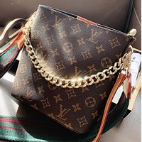 LV New Fashion Monogram Print Leather Shoulder Bag Crossbody Bag Bucket Bag Handbag