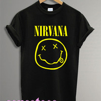 nirvana shirt smiley face tshirt nirvana fashion shirt tshirt t-shirt tee shirt printed black color unisex size