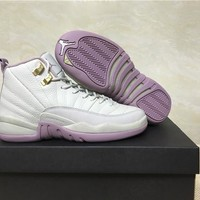 Air Jordan 12 Plum Fog GS baby pink Boost Basketball Shoes 36-40