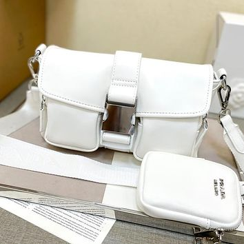 Prada leather solid color ladies two-piece shoulder bag messenger bag cosmetic bag small purse White