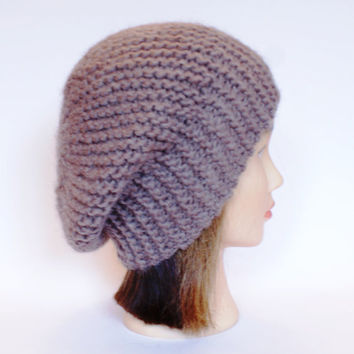 Beret style slouch hat beige slouchy beanies hats women knitted irish handknit