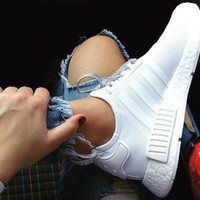 Adidas NMD Fashion Sneakers Trending Running Sports Shoes Pure white