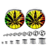 Double flared  steel Ganja Leaves  Pot  Leaf plugs , Body Piercing Jewelry  ,Stainless steel  ear plugs,tapers and plugs,0g, 00g