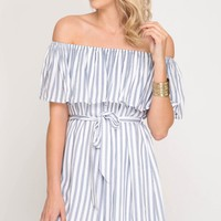 Blue Pinstripe Off The Shoulder Dress