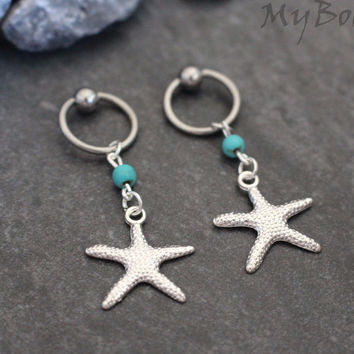Starfish Captive Bead Ring
