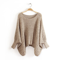 Plain Sleeve Knitted Sweater