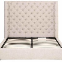 Barclay Cal King Bed Bisque French Linen, Espresso
