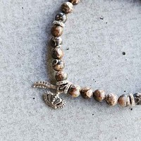Profound Aesthetic Granulated Moon Bead Bracelet- Brown One