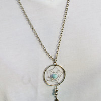 Vintage Dream Catcher Necklace with Turquoise and Feather