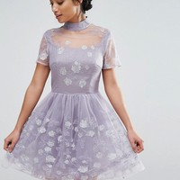 Chi Chi London Petite Mesh High Neck Mini Prom Skater Dress With Floral Metallic Embroidery at asos.com
