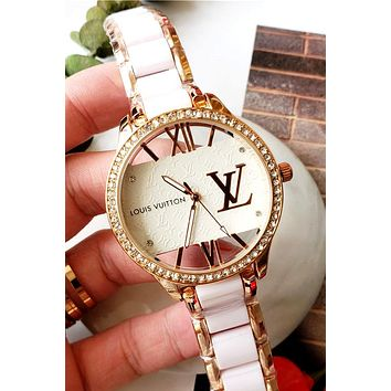 LV 2019 new men and women models with diamond case simple and versatile quartz watch white