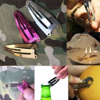 Portable Multi Purpose Hair Clips Safety Credit Card Sports Self-defense Barrettes Survival Knife Hairpin Outdoor Hairclips