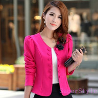 (please read the size data in description before purchase)Womens slim double breasted short design long-sleeve suits cardigan blazer female short jacket woman coat