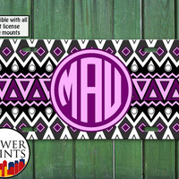 Purple And Pink Aztec Tribal Pattern Tumblr Monogram Initials Personalized For Front License Plate Car Tag One Size Fits All Vehicle Custom