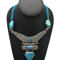 """Multi Beaded Afghan Turkmen Tribal Blue Turquoise Inlay V-Neck Necklace 22"""",LN15"""