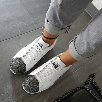 adidas Originals White Superstar 80S Trainers With Black 3D Metal Toe Cap Sneakers Sport Shoes