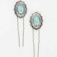 Turquoise Bun Holder Set- Silver One