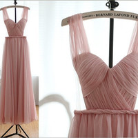Chiffon Prom Dress Blush Pink Bridesmaid Dress Sweetheart Formal Dress Prom Dresses See Through Back Bridesmaid Dresses