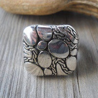 925 Sterling Silver Engraved Ring Size:8