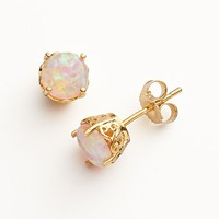 10k Gold Over Silver Lab-Created Pink Opal Stud Earrings