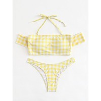 Off The Shoulder Gingham Bikini Set YELLOW