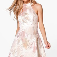Boutique Dora Metallic Jacquard Skater Dress | Boohoo