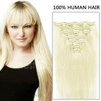 16 Inch 7pcs Sale Straight Clip In Human Hair Extensions 70g (#60 White Blonde)
