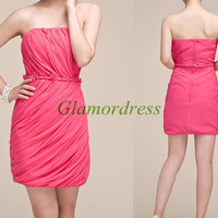simple folded chiffon prom dresses short / sheathy strapless gowns for holiday party / cheap modern homecoming dress on sale