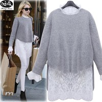 Women Sweaters 2017 New Autumn Irregular Knitting Sweaters Long Sleeve Sweater Female Cute Lace Patchwork 2 Pieces Sets Sweater