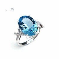 Sky Blue Topaz Oval 10*14mm Concave Cut  Simple Gemstone Ring