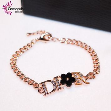 Creative classic Fashion Camellia CZ alphabet Crystal chain bracelet luxurious bracelet high quality rose gold bracelet women