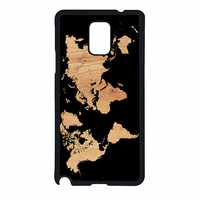 World Map On Wood Texture Print Samsung Galaxy Note 4 Case