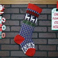 Red Christmas Stocking Hand Knit in Blue and Taupe Houndstooth, White Deer, Fair Isle Knit, can be personalized, Wedding/ Housewarming Gift