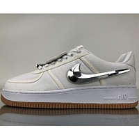 Samplefine2 Nike Air Force Low help three-color Velcro personality tide brand trendy sneakers F White+silver hook