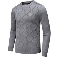 Versace 2018 autumn and winter new trend fashion men's knitted embroidery sweater grey