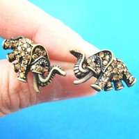 Elephant Shaped Animal Stud Earrings in Brass with Rhinestones | DOTOLY