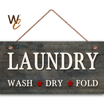"""Laundry Sign, Dark Distressed Wood Style, Wall Art, Cleaning Sign, Laundry Room, Weatherproof, 5"""" x 10"""" Sign, Made To Order"""