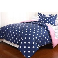 Blue & White Polka Dot Reversible Girls Twin Comforter Set (5 Piece Bed In A Bag)